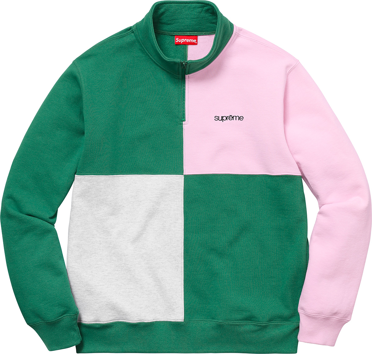 supreme-18ss-spring-summer-color-blocked-half-zip-sweatshirt