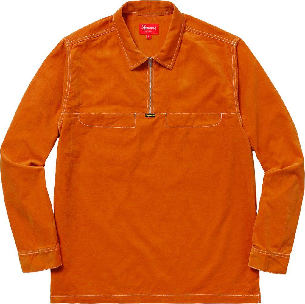 supreme-18ss-spring-summer-corduroy-half-zip-shirt