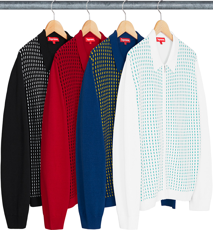 supreme-18ss-spring-summer-dashes-zip-up-knit-polo