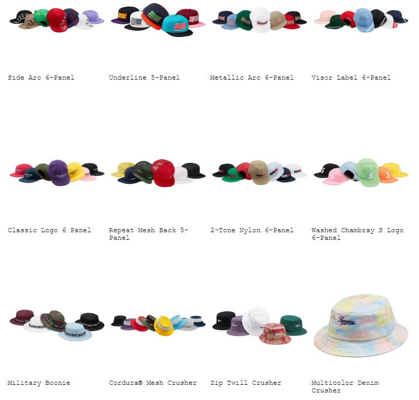 supreme-18ss-spring-summer-hats