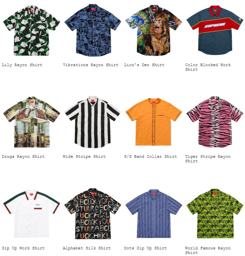 supreme-18ss-spring-summer-shirts