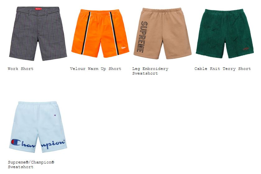 supreme-18ss-spring-summer-shorts