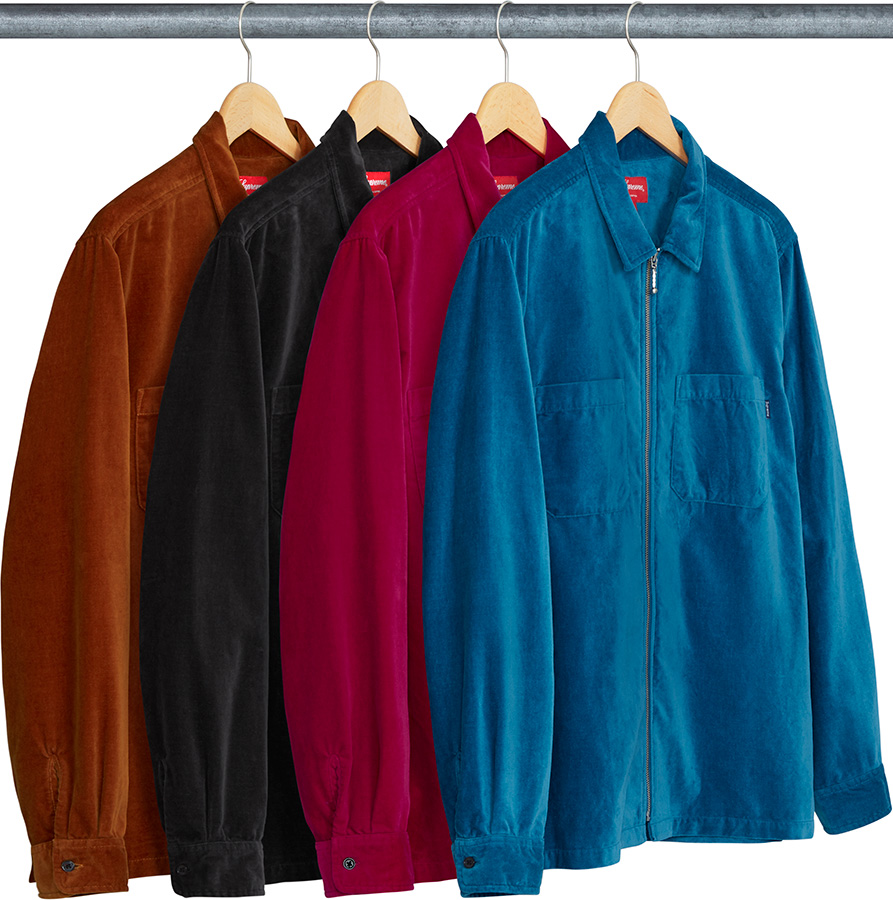 supreme-18ss-spring-summer-velvet-zip-up-shirt