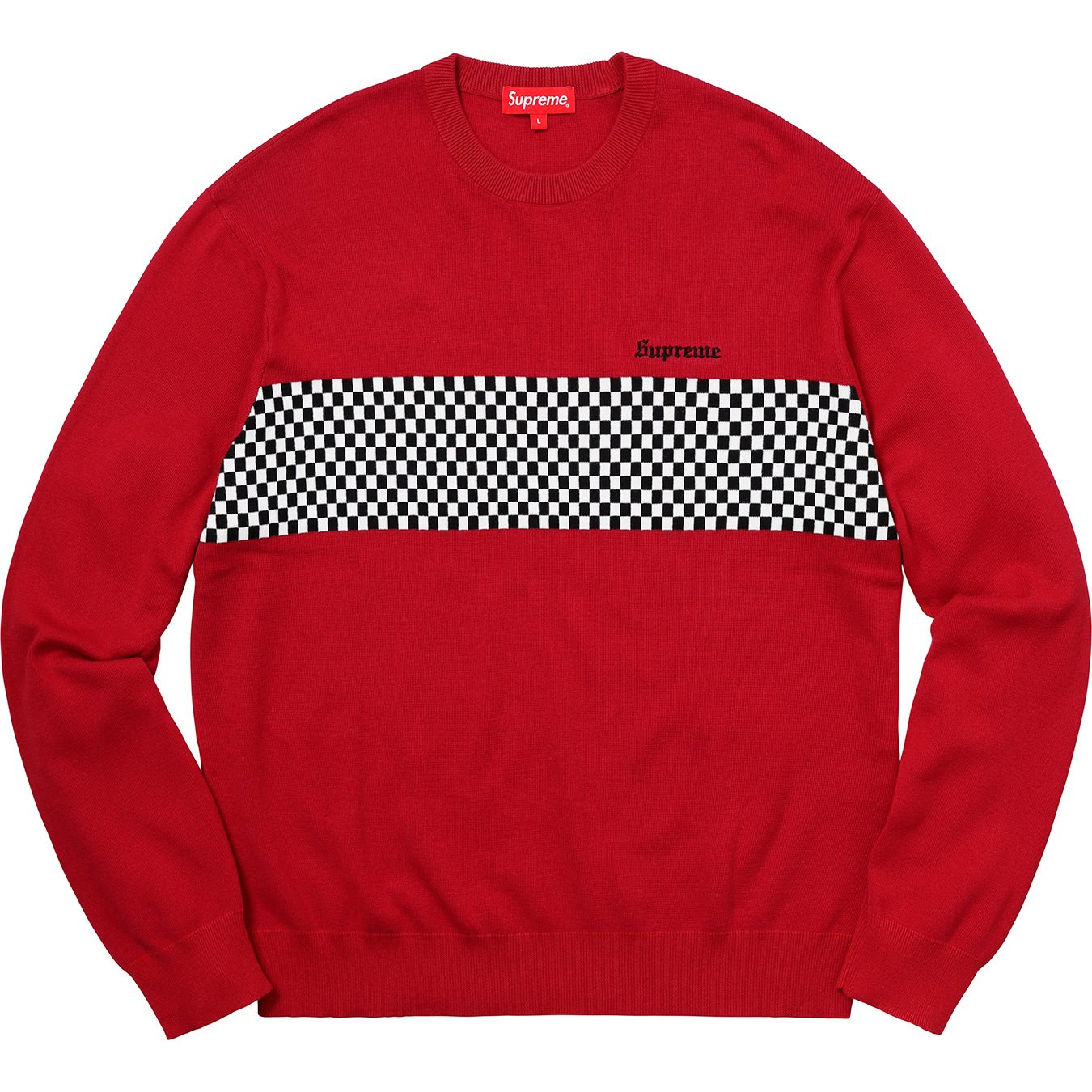 supreme-18ss-spring-summer-checkered-panel-crewneck-sweater