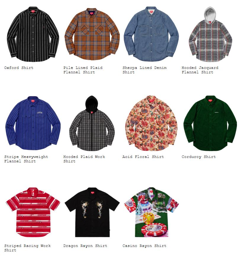 supreme-18aw-fall-winter-collection-shirts