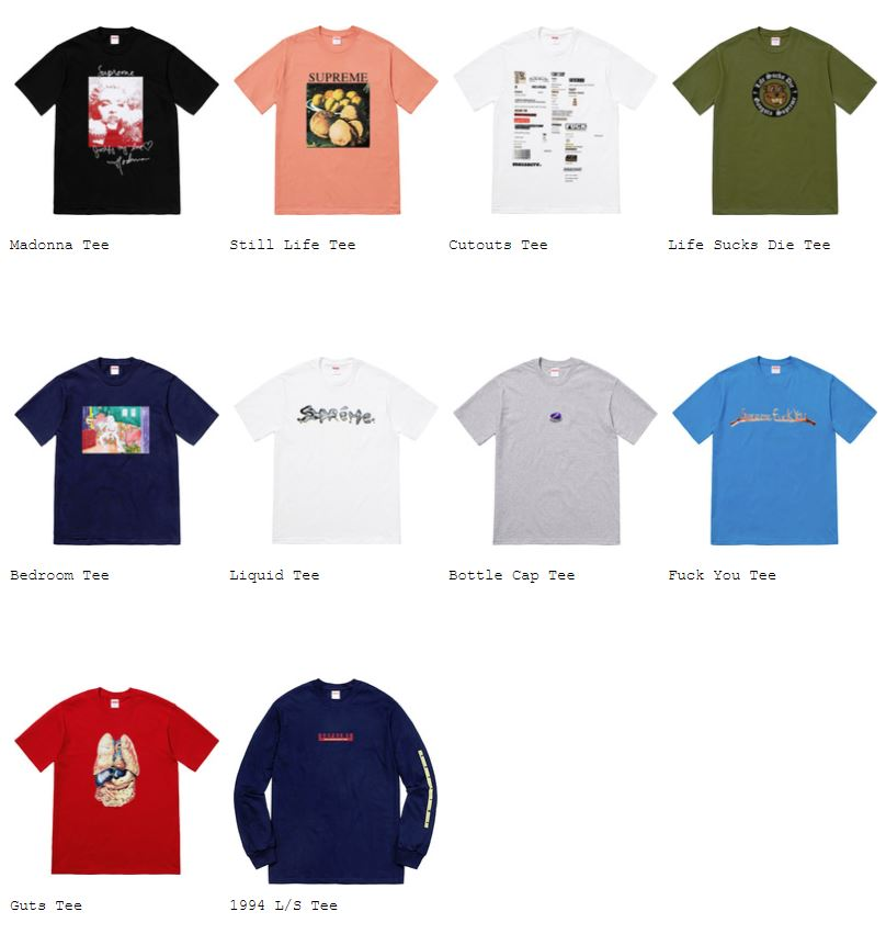 supreme-18aw-fall-winter-collection-t-shirts