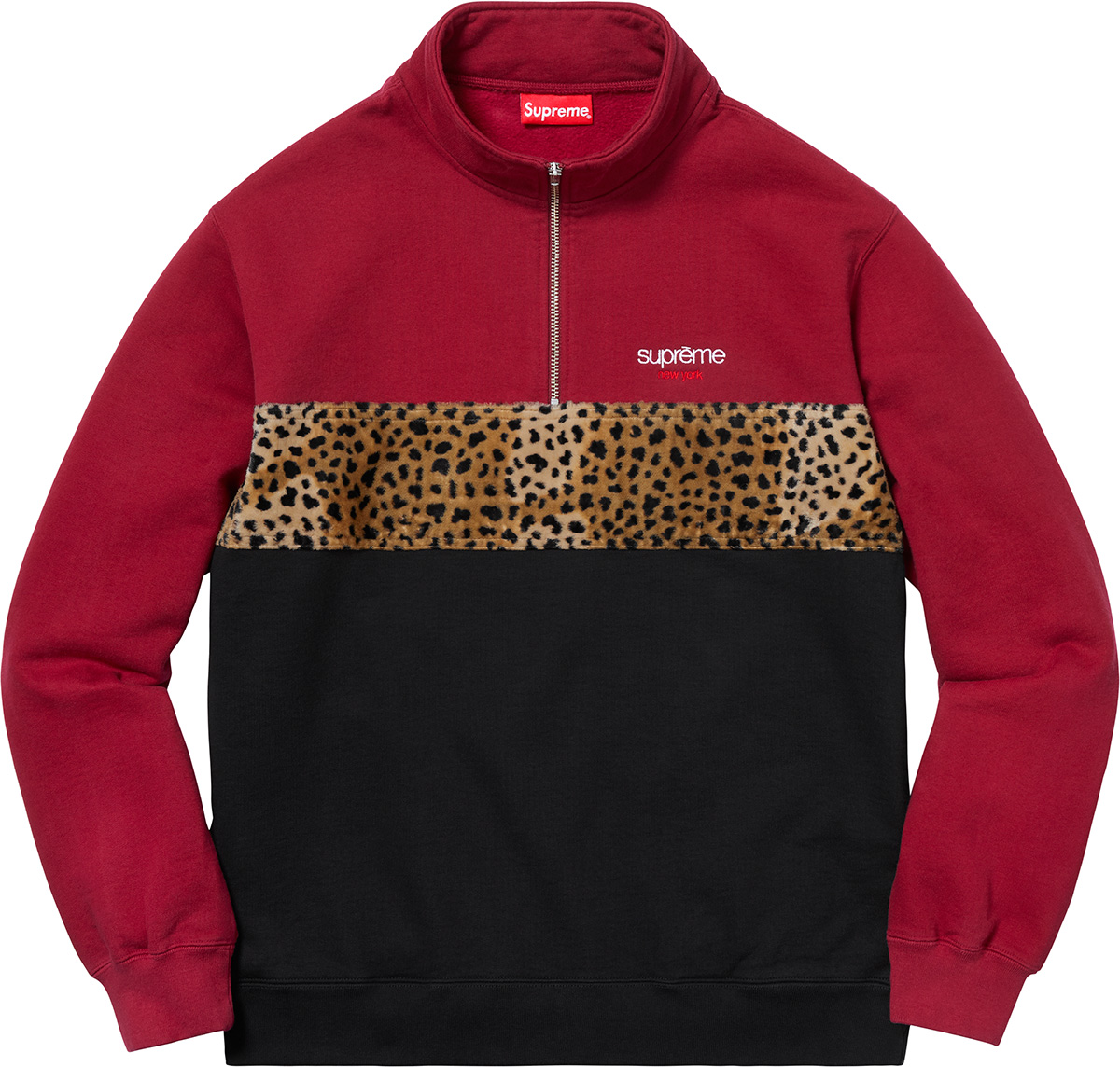 supreme-18aw-fall-winter-leopard-panel-half-zip-sweatshirt