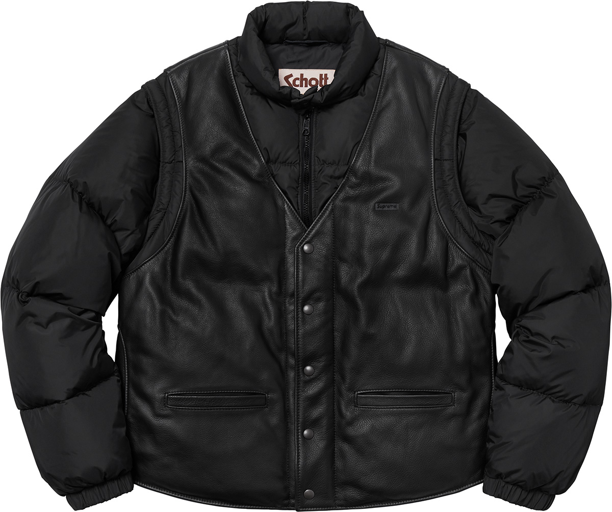 supreme-18aw-fall-winter-supreme-schott-down-leather-vest-puffy-jacket