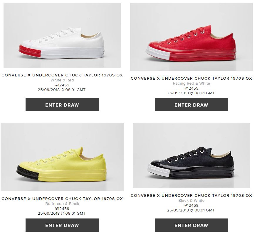 01a5fe492df UNDERCOVER × CONVERSE CHUCK TAYLOR 70 LOWが9 25に海外発売予定