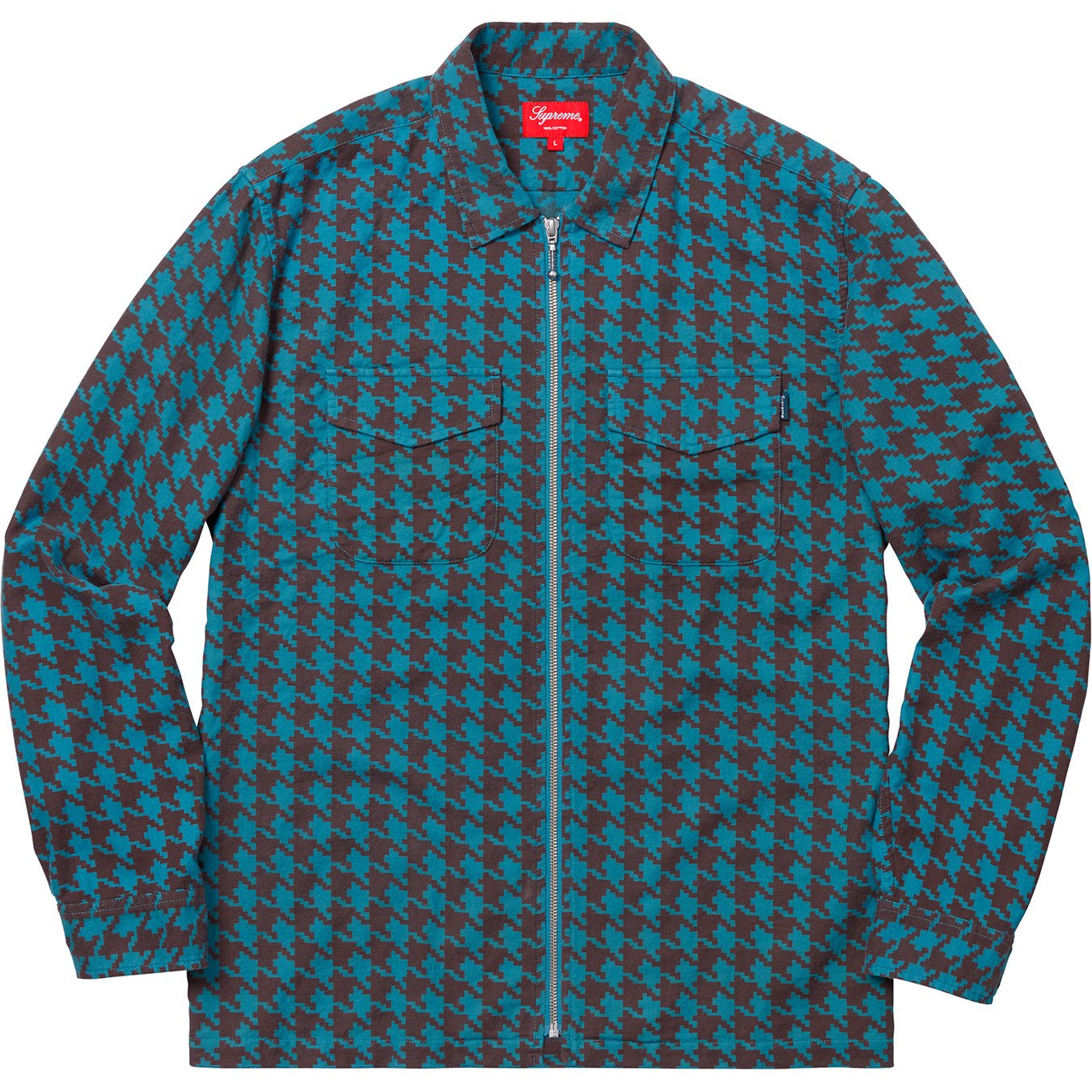 supreme-18aw-fall-winter-houndstooth-flannel-zip-up-shirt