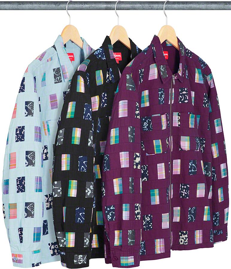 supreme-19ss-spring-summer-patchwork-zip-up-shirt