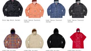 Supreme 19SS コレクションのジャケット一覧ページ
