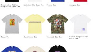 Supreme 19SS コレクションのTシャツ一覧ページ