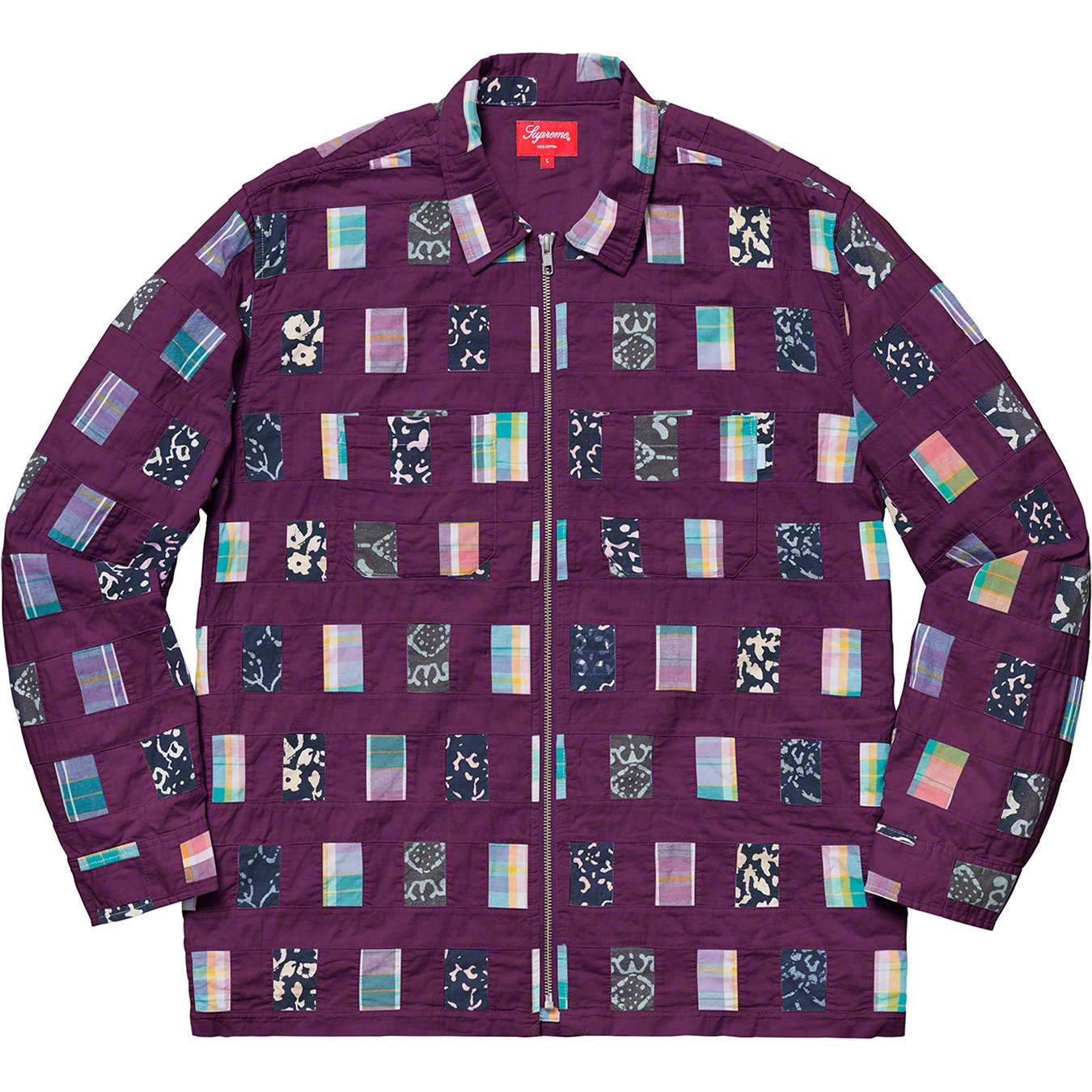 supreme-19ss-spring-summer-patchwork-zip-up-shirt