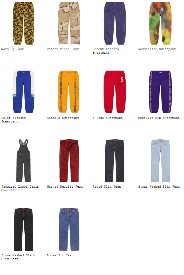 supreme-20ss-spring-summer-collection-pants-shorts