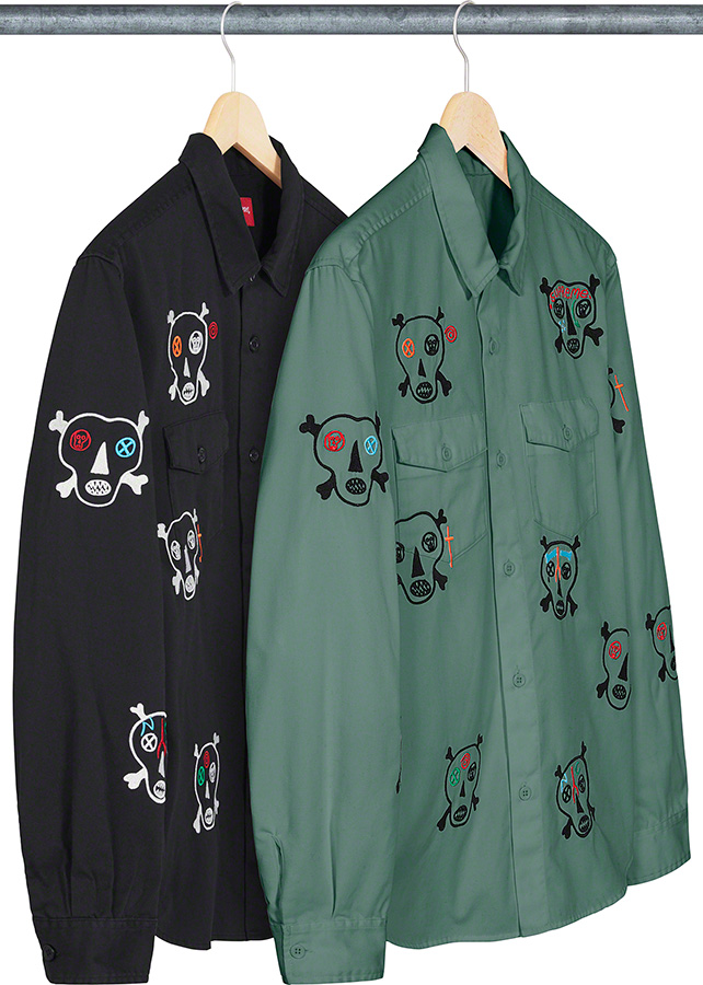 supreme-21ss-spring-summer-clayton-patterson-skulls-embroidered-work-shirt