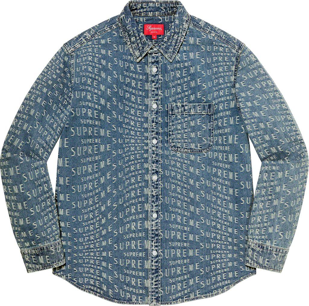 supreme-21ss-spring-summer-warp-jacquard-logos-denim-shirt