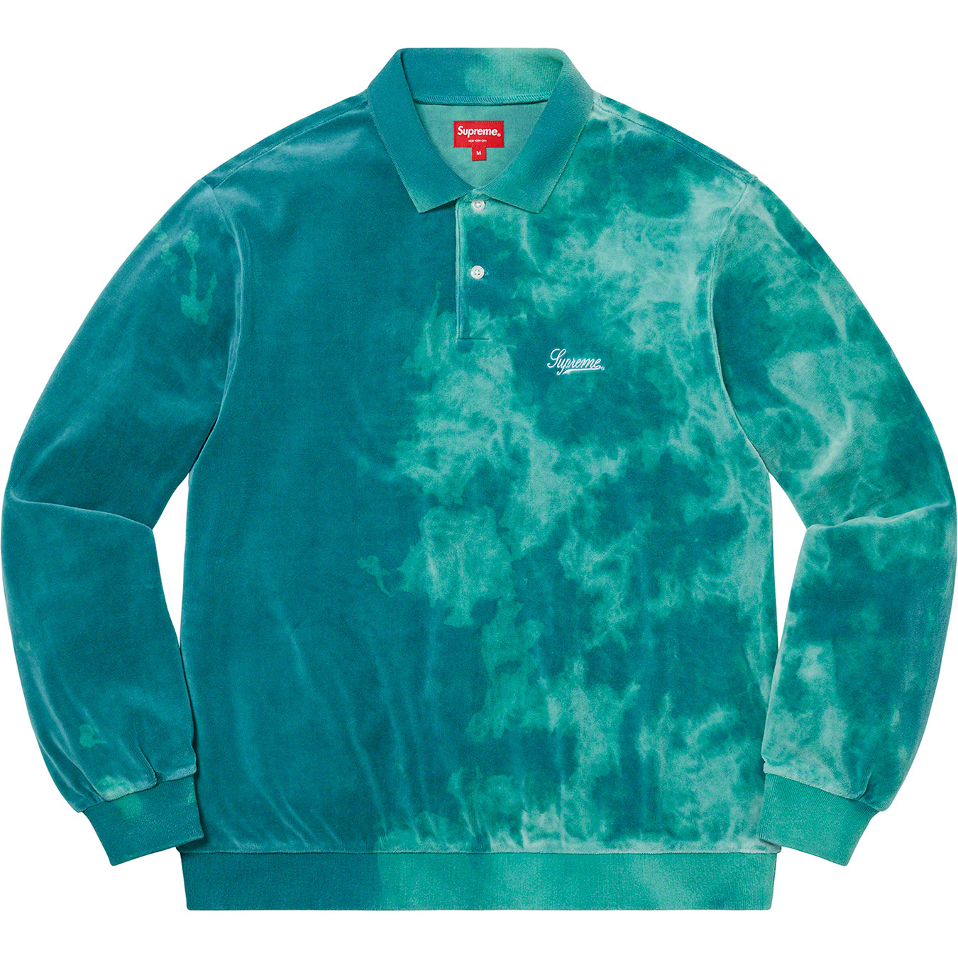 supreme-21ss-spring-summer-bleached-velour-l-s-polo