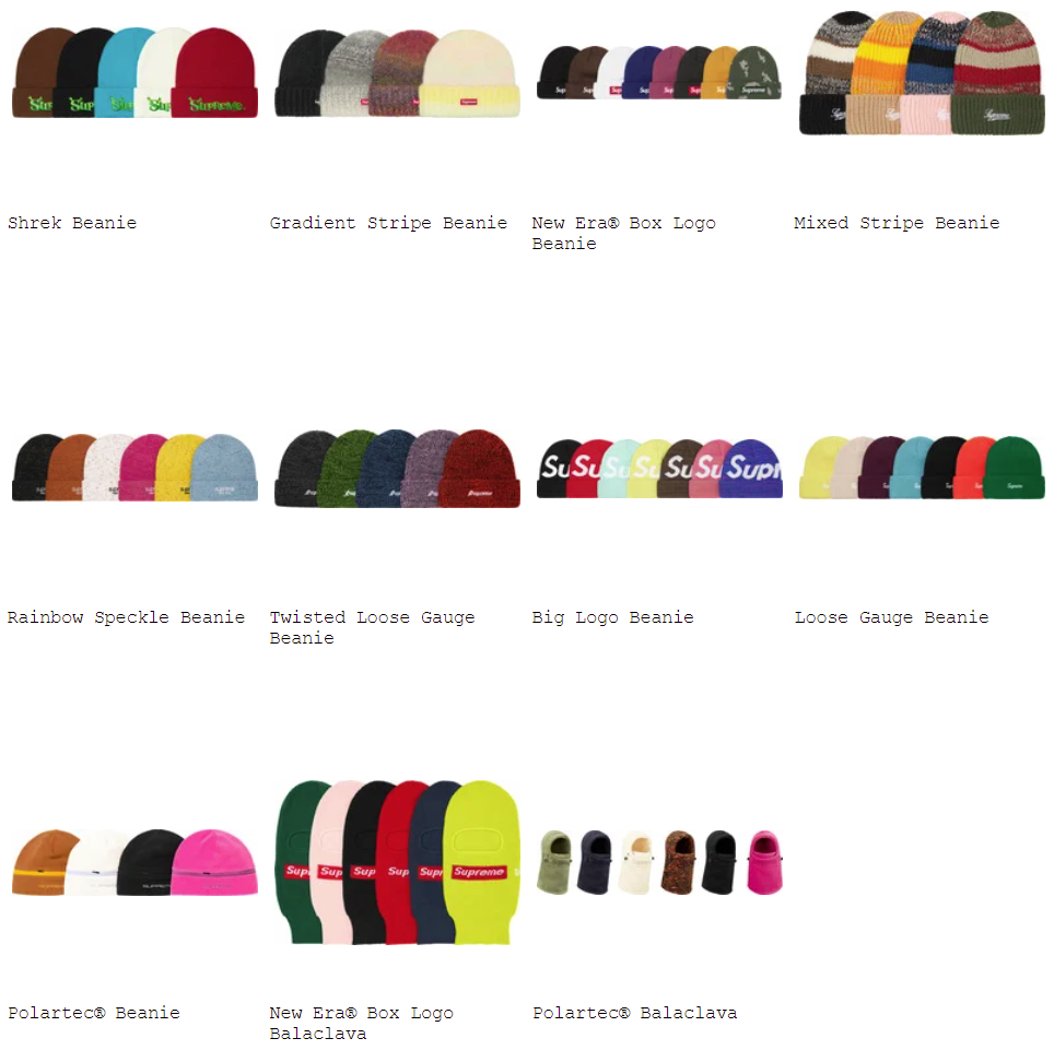 supreme-21aw-21fw-fall-winter-caps-hats