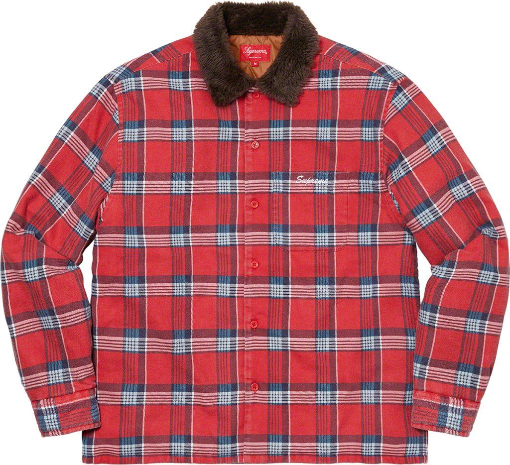 supreme-21aw-21fw-faux-fur-collar-flannel-shirt