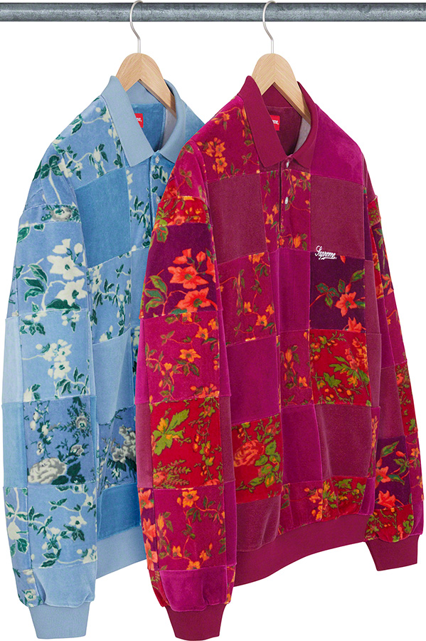 supreme-21aw-21fw-floral-patchwork-velour-l-s-polo