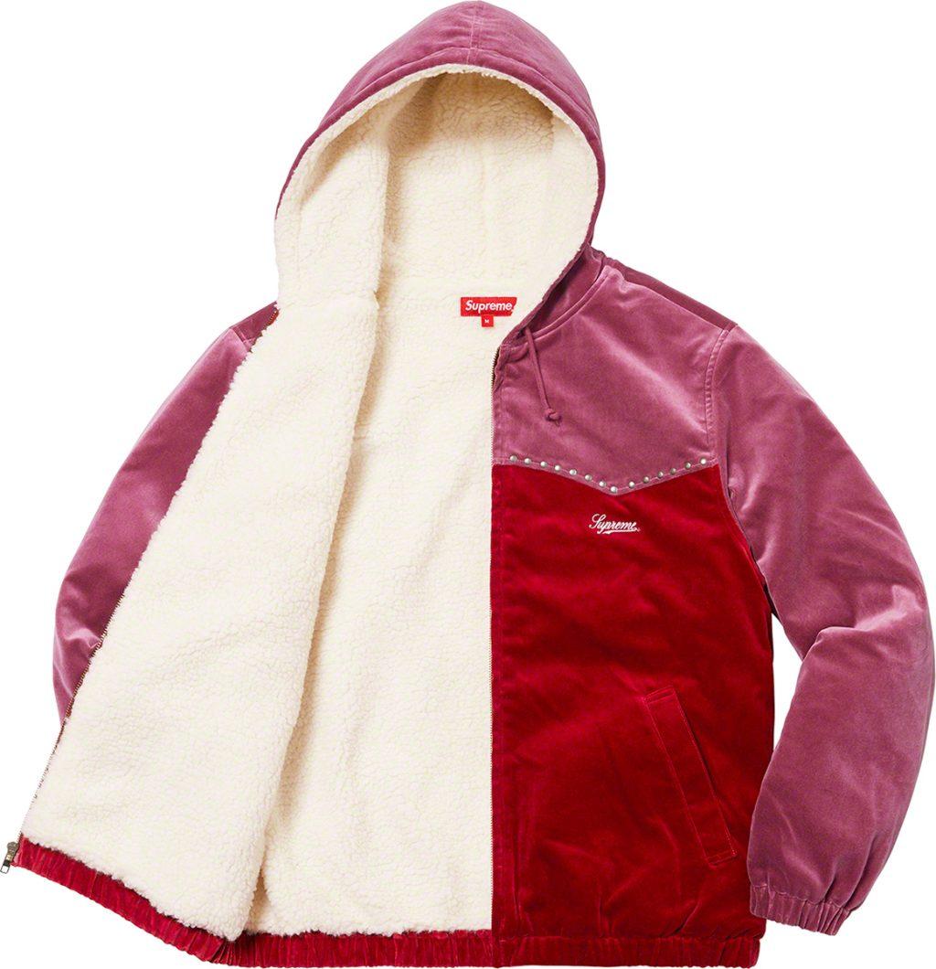 supreme-21aw-21fw-studded-velvet-hooded-work-jacket