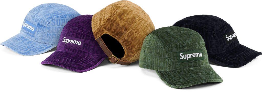 supreme-21aw-21fw-velvet-pattern-camp-cap