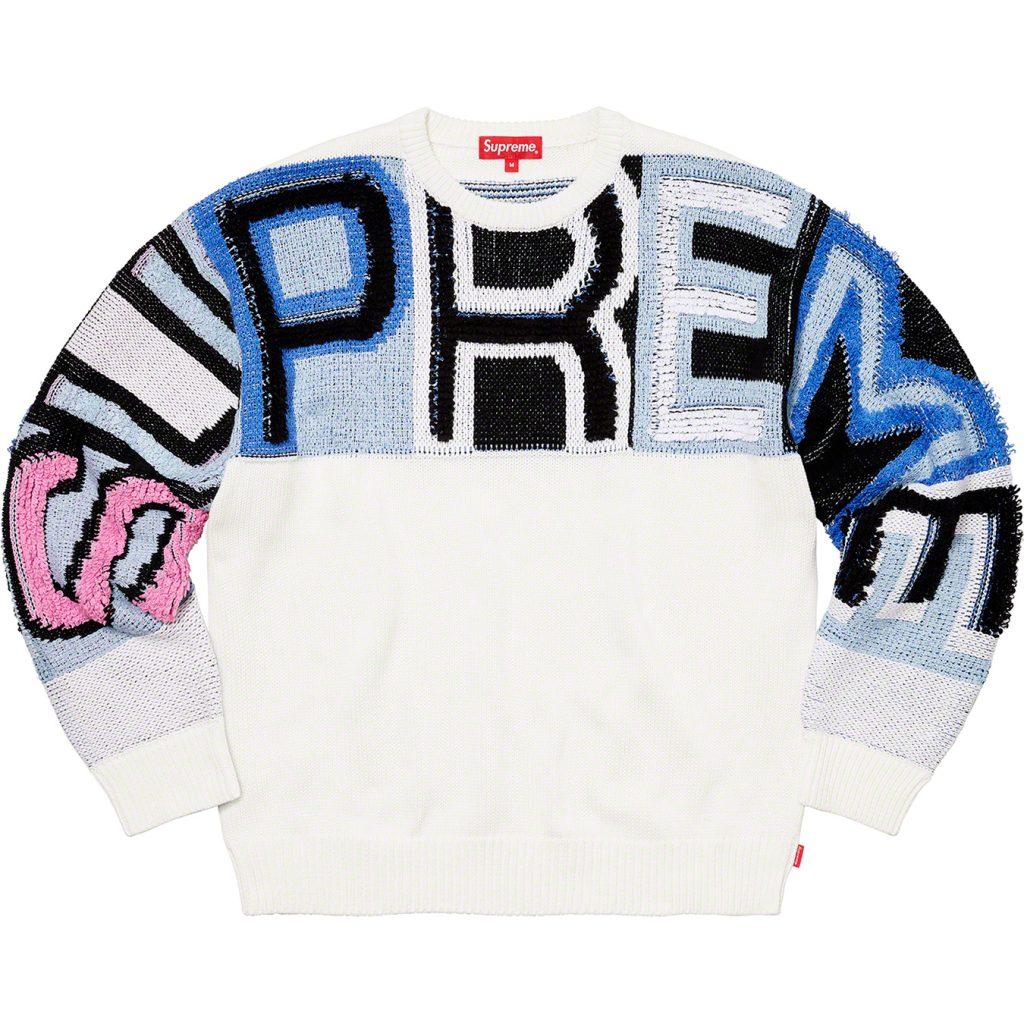 supreme-21aw-21fw-chenille-logo-sweater